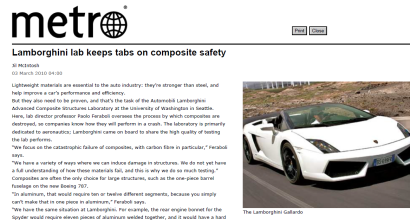 """Lamborghini lab keeps tabs on composite safety"", Metro, March 2010"
